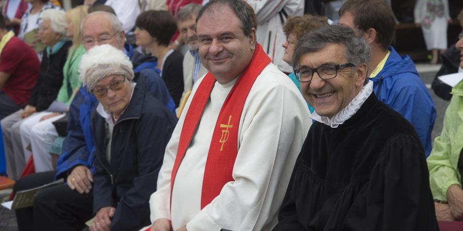 Das Team von St. Jakob v.r.: Pfarrer Friedrich Benning und Diakon Christian Achberger   Foto: I. Hoffmann